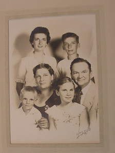 1957 Jordan family portrait - clockwise: Eleanor, Jim, Clarence, Jan, Lenny, Florence.
