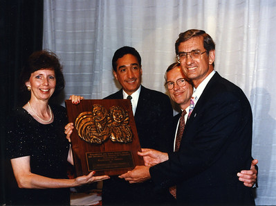 1996 Millard & Linda Fuller receive the Maud and Ballington Booth Award in celebration of 100th year anniversary of Salvation Army U.S. - Award presentation at Waldorf Astoria Hotel, NYC.