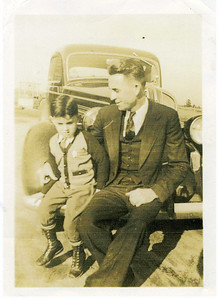 1940  Lanett, AL - 5-year-old Millard with his father, Render Fuller.