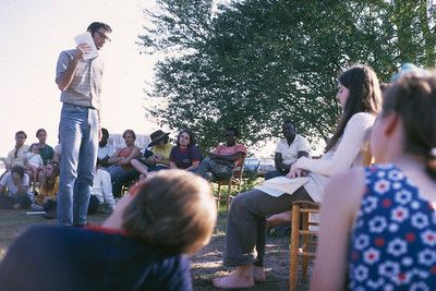 1969 Millard speaking at outdoor workship service at Koinonia. lcf
