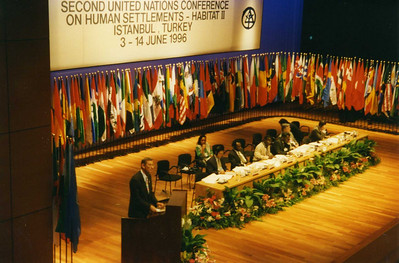 1996 Millard addresses Second UN Conference on Human Settlements - Habitat !!, Istanbul, Turkey.