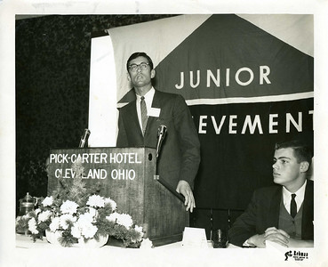 1964 Millard Fuller keynotes at Junior Achievement National Convention held in Cleveland, OH.