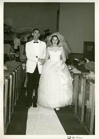 1959 08-30 - Linda & Millard exit church.