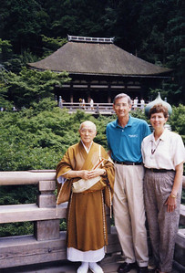 1998 Linda and Millard with Buddhist monk in Thailand