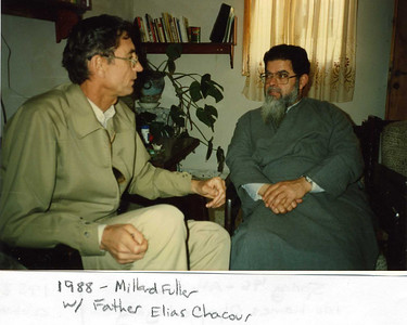 1988 - Millard and Linda Fuller visit with Father Elias Chacour in Ibilene, West Bank (Israel). lcf