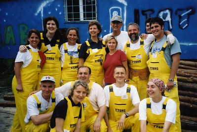 2003 - Linda and Millard work with homeowners and volunteers on a Habitat build site in Warsaw, Poland.