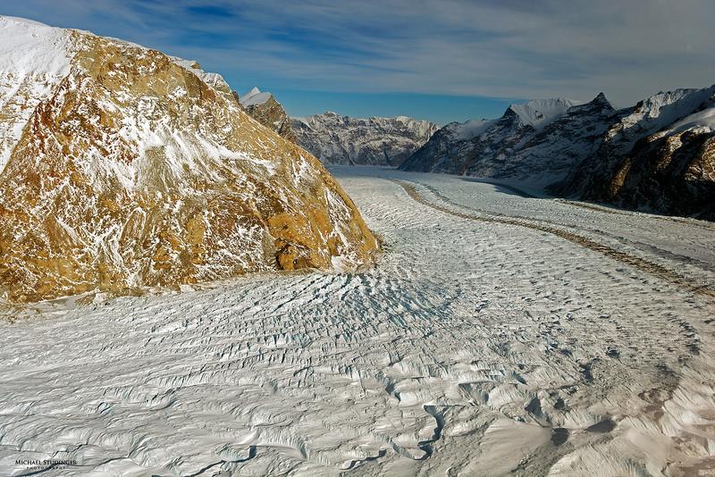 View along Nordenskiöld Glacier in Østgrønland (East Greenland) seen during an Operation IceBridge survey flight on April 5, 2014.
