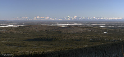 The Alaska Range in the evening sun seen from Fairbanks on a clear day.