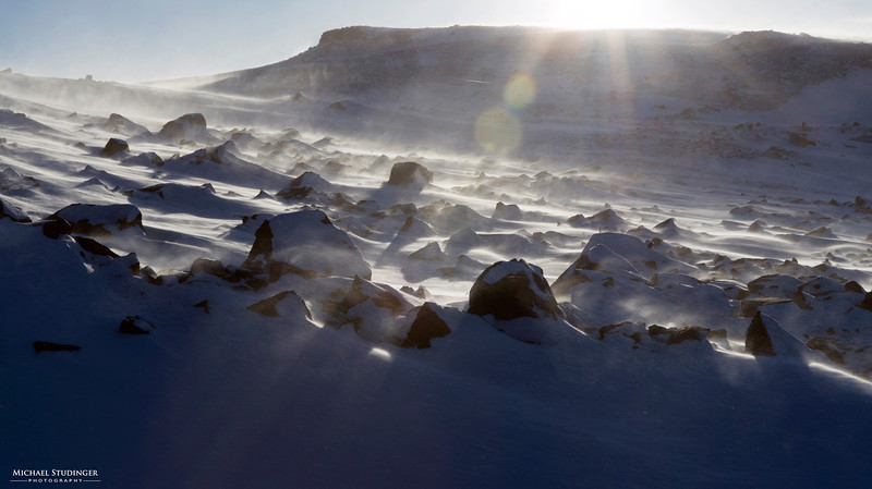 A chilly day with blowing snow at Thule, Greenland in early March.