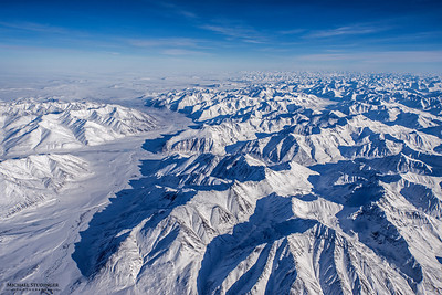 Brooks Range, Alaska seen during a flight that crossed the Arctic Ocean from Thule, Greenland to Fairbanks.