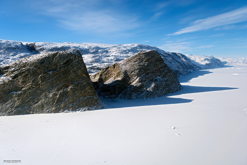 View of the Northwest Fjord flying towards Nord Glacier in Østgrønland (East Greenland) during an Operation IceBridge survey flight on April 5, 2014.