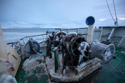 Winter in the Arctic is indeed harsh, don't touch frozen machinery without gloves on and of course the decks are slippery