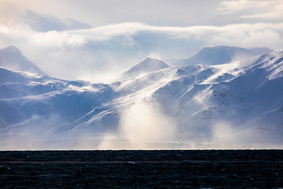 Wind and blowing snow and clouds add an element of drama