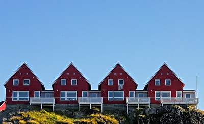 A row of houses in Sisimiut, Greenland