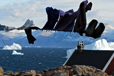A clothesline in Uummannaq, Greenland