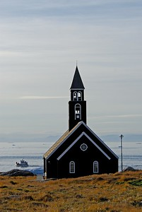Ilulissat church and shore, Greenland