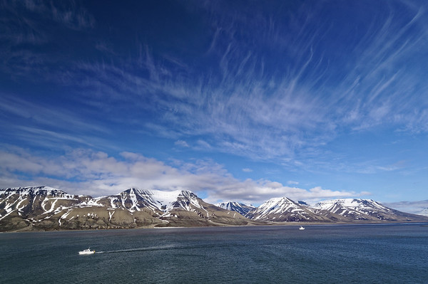 Svalbard view of Adventfjorden.