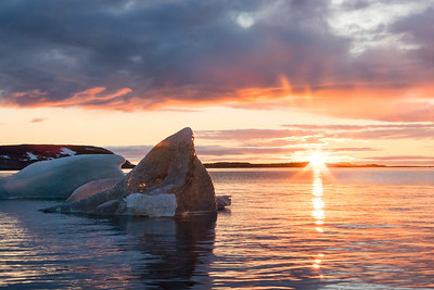 Dramatic scenes are everywhere as the varying evening colors reflect off the water and the icebergs