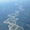 View of Yukon River from airplane. The Yukon is the longest river in Alaska and at one time was a major transportation artery for the region.