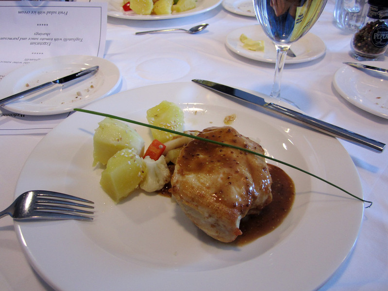Dinner, main course of Guinea fowl and potatoes