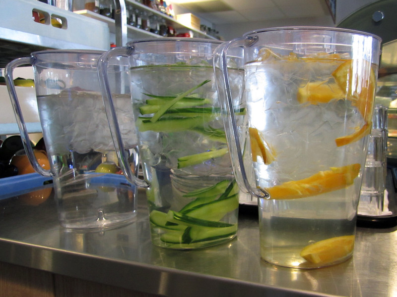 Pitchers of flavored ice water in local restaurant