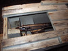 Gun mounted inside polar bear killing trap<br /> Svalbard Museum