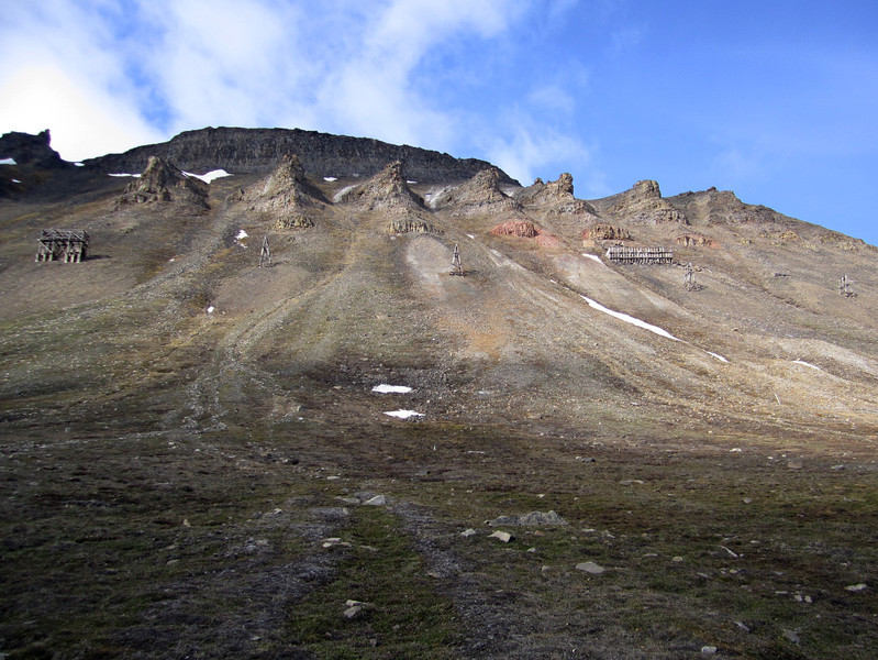 Picturesque topography of Longyearbyen mountainside which was mined for 30+ years