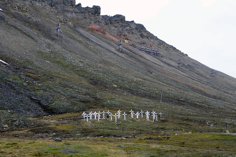 Old Longyearbyen cemetery.  Burials are no longer allowed as corpses do not decay in the permafrost.