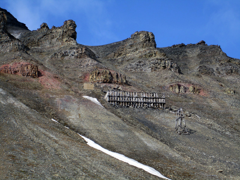Old mine structures, high on the mountainsides of Longyearbyen
