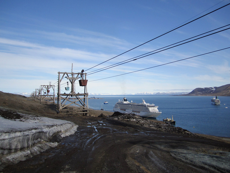 Old cable train for moving coal to transport ships<br /> Isfjorden<br /> Longyearbyen, Svalbard