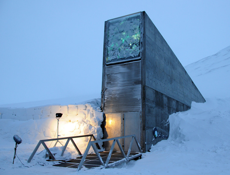 High on a hill, near the airport is the Svalbard Seed Vault, where samples of the world's seeds are stored in permanent deep freeze.  This is the entrance.