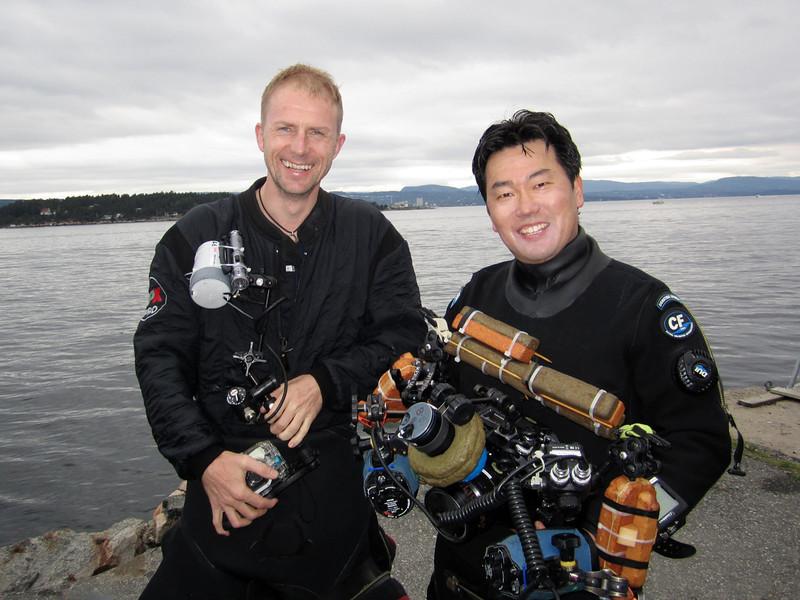 Jarle Strømodden and Kevin Lee, Somdre Spro dive site, along Oslo Fjord.  Jarle is director of the Vigeland Museum, in Olso, Norway.
