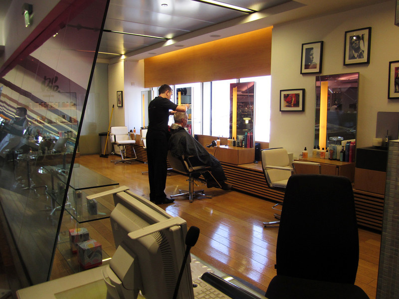 Virgin Atlantic, flagship VIP lounge, barber shop offering free hair trims.