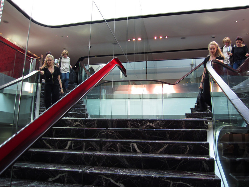 Marble stairs leading to Virgin Atlantic, flagship VIP lounge.