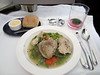 Dinner aboard Virgin Atlantic: Guinea Fowl soup.