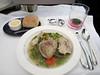 Dinner aboard Virgin Atlantic: Guinea Fowl soup.