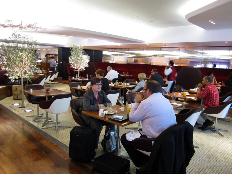 Virgin Atlantic, flagship VIP lounge.  Free sit down dining.