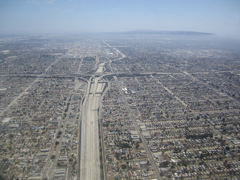Hiways 110 and 105 interchange, Southern California.  Final approach to LAX