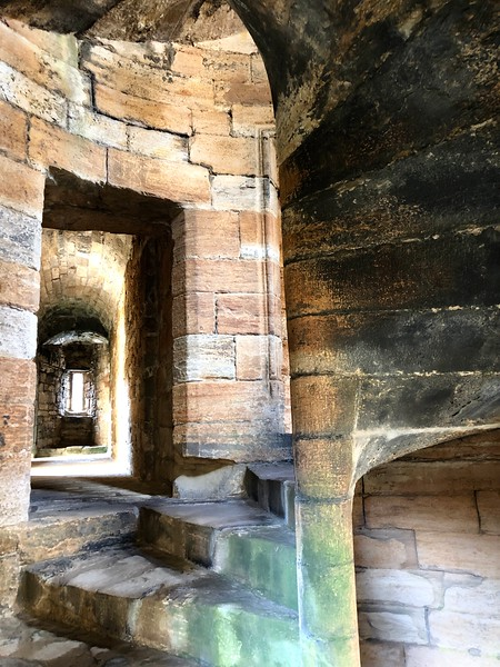 Detail showing stone step construction<br /> Linlithgow Palace, Linlithgow, Scotland.