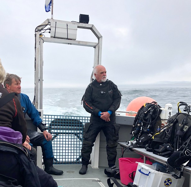 Jim prepped for diving<br /> Off Eyemouth, Scotland