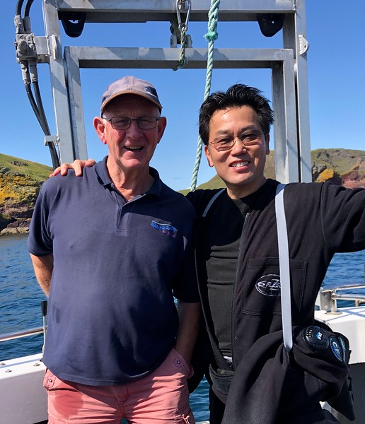 With Captain Jim Easingwood, former fisherman turned scuba boat captain. Near Eyemouth, Scotland.
