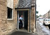 SlugClug member, Jim Anderson, exiting his front door.<br /> Linlithgow, Scotland