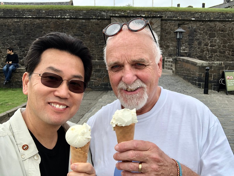 Enjoying ice cream with Jim, before entering Stirling Castle<br /> Stirling, Scotland