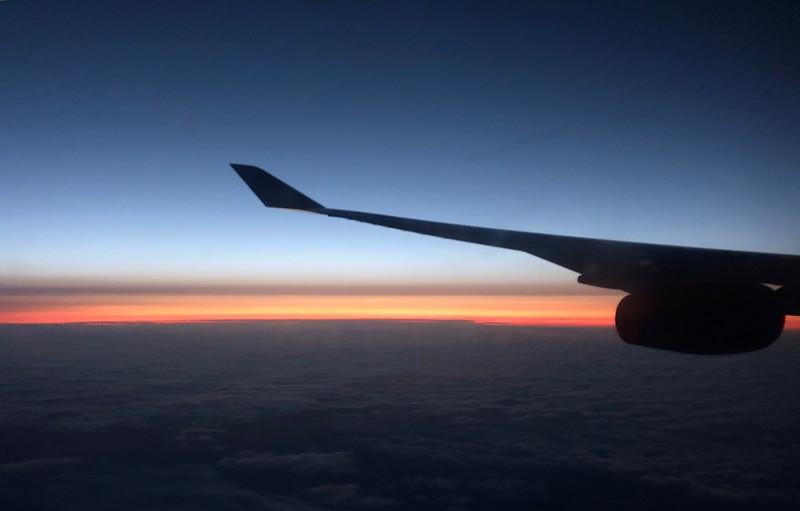 Sunrise before London landing