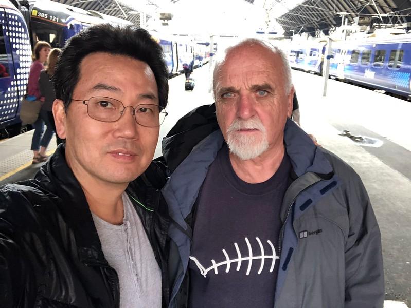 With Jim, on the arrival platform, Glasgow, Scotland