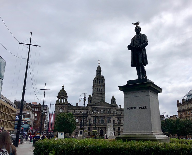 """Glasgow City Hall<br /> """"The English statesman Sir Robert Peel (1788-1850) served as prime minister during 1834-1835 and 1841-1846. He played an important role in modernizing the British government's social and economic policies and sponsored the repeal of the Corn Laws in 1846."""" The police are referred to as Bobbies or Peelers, in remembrance of Robert Peel who created the British Police force."""