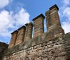 Chimneys of the northern walls, Linlithgow Palace, Linlithgow, Scotland.