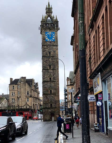 The Tolbooth clock tower Trongate Merchant City, Glasgow, Scotland.