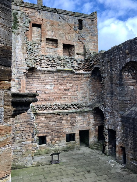 Great Hall serving windows from the kitchen<br /> Linlithgow Palace, Linlithgow, Scotland.