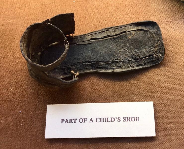 Child's shoe<br /> Linlithgow Palace, Linlithgow, Scotland.